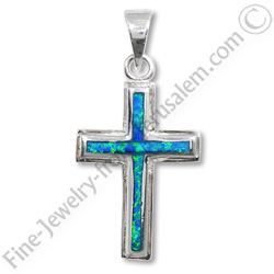 Sterling (925) silver cross set with crushed opals