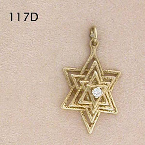3D Star of David Set with Diamond