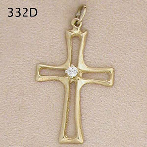 14K Gold Modern Cross set with Diamond