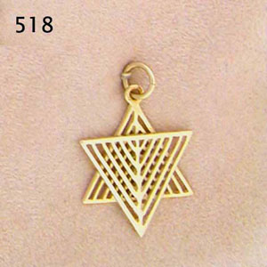 14K Gold Star-Menorah Pendant