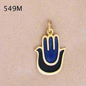 14K gold Enameled Hamsa-Dove of Peace Pendant
