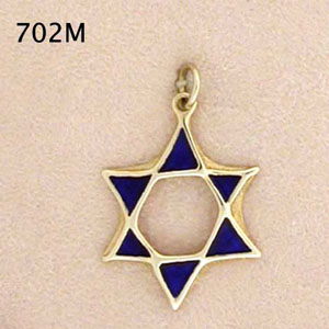 14K Gold Blue Enamel Star of David Pendant