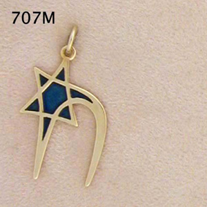 14K Gold  Enameled Chai- Star Pendant