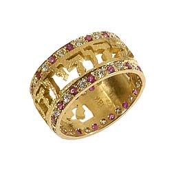 18K Gold Ring set with Diamonds and Rubies