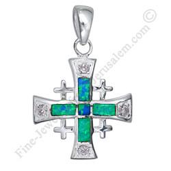Sterling silver jerusalem cross pendant with opal aloadofball Images
