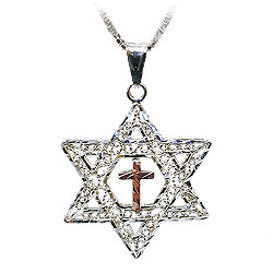 Messianic star of david cross pendant large aloadofball