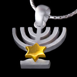 Silver Menoa Pendant with Gold Star