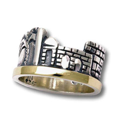 Silver and Gold Jerusalem Skyline Ring