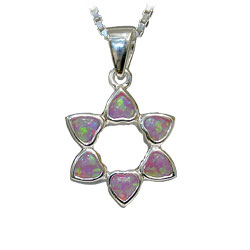 925 Silver Star of David pendant set with Opals
