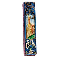 Large Wooden Mezuzah - Jerusalem