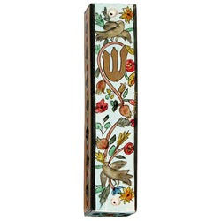 Large Wooden Mezuzah - Birds