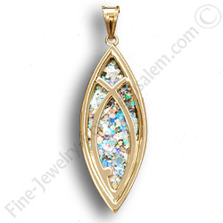 14k gold pendant with roman glass jesus fish symbol aloadofball Image collections
