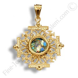 14k gold jerusalem cross pendant with roman glass aloadofball Images