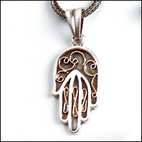 Sterling Silver and 14k Gold hamsa